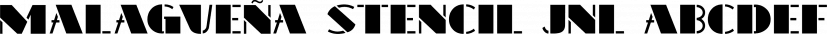 Malagueña Stencil JNL font family by Jeff Levine Fonts