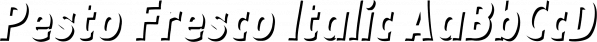 Pesto Fresco Italic font family by Resistenza.es
