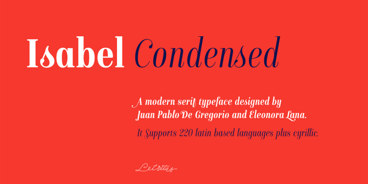 Isabel Condensed font family by Letritas