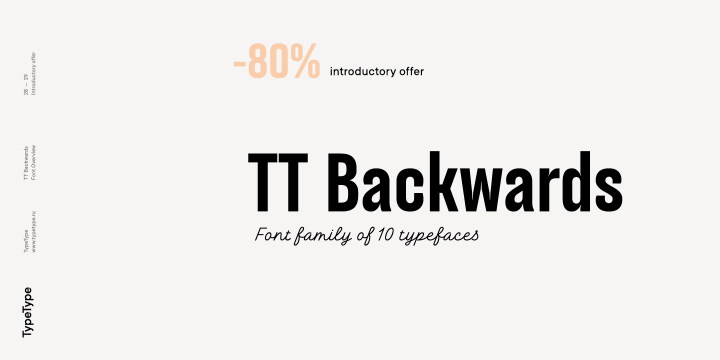 TT Backwards font family by Typetype